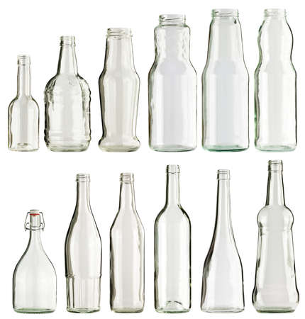 Empty glass bottles collection, isolated photo