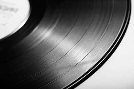 vinyl records: Black vinyl record close up