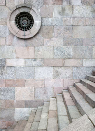 Old stone wall and stairs photo