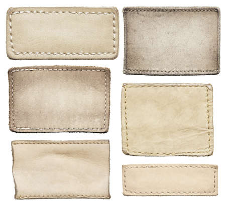 leather stitch: Leather jeans labels, leather tags.