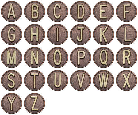 Button alphabet. Letters made of metal. photo