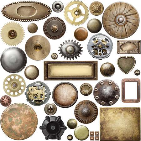 tuercas y tornillos: Cabezas de los tornillos, engranajes, texturas y otros detalles metálicos.