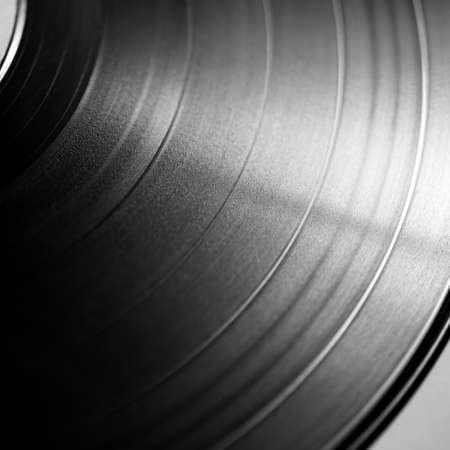 record albums: Black vinyl record close up