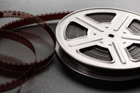 Motion picture film reel on the table photo