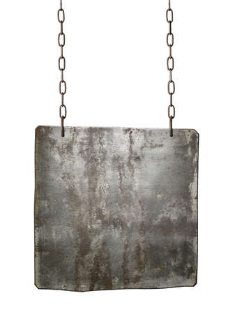 Metal sign hanging on a chain, isolated. Stock Photo - 27153178