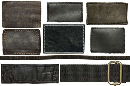 Black leather jeans labels and straps photo