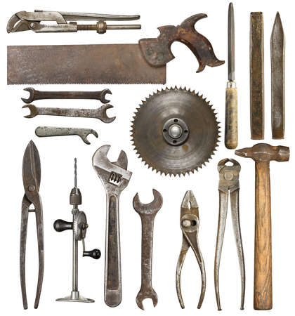 Old rusty tools, isolated photo