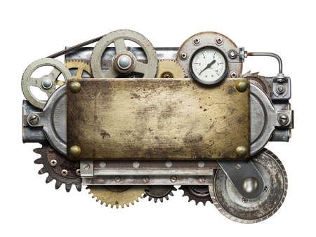 maquina vapor: Collage de metal estilizada de dispositivo mecánico.