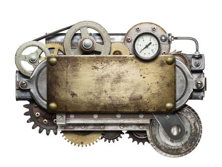 Stylized metal collage of mechanical device. photo