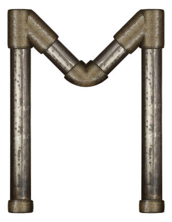 Industrial metal pipe alphabet letter