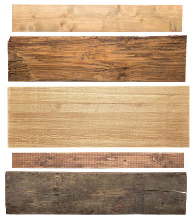 Wooden planks isolated on white background photo