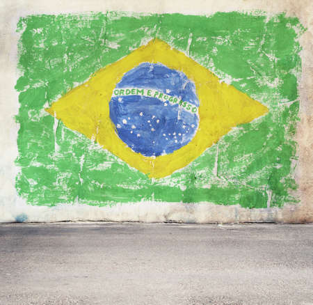 Brazil flag on the wall photo