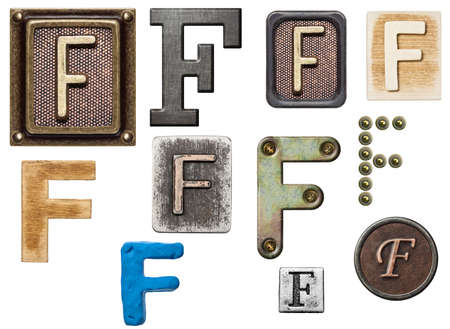 Alphabet made of wood, metal, plasticine. Letter F photo