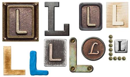 Alphabet made of wood, metal, plasticine. Letter L
