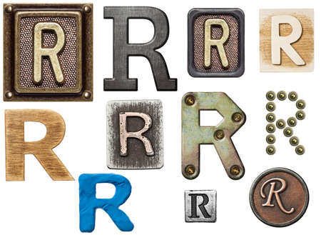 Alphabet made of wood, metal, plasticine. Letter R photo