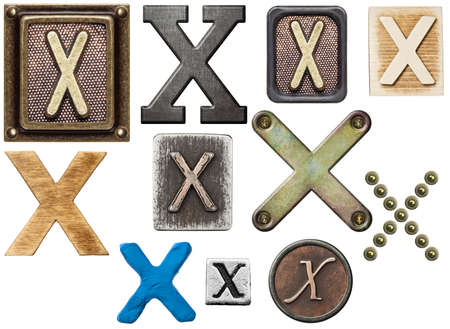 Alphabet made of wood, metal, plasticine. Letter X photo