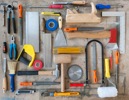 Various carpentry, construction tools on the table