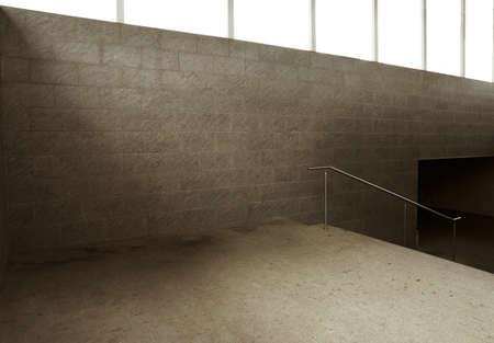 Empty underground passage stairway photo