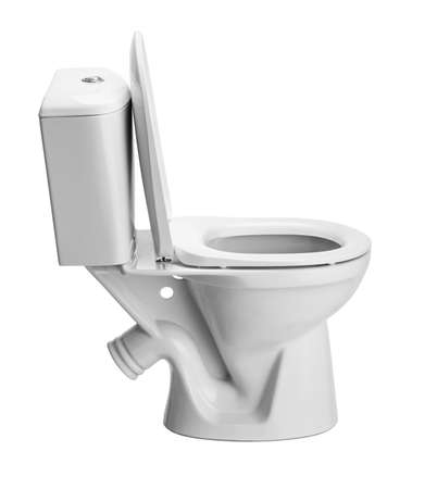 Toilet bowl on white background photo