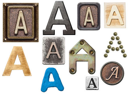 Alphabet made of wood, metal, plasticine. Letter A photo