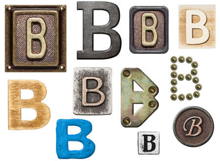 Alphabet made of wood, metal, plasticine. Letter B photo