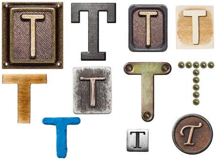 Alphabet made of wood, metal, plasticine. Letter T photo