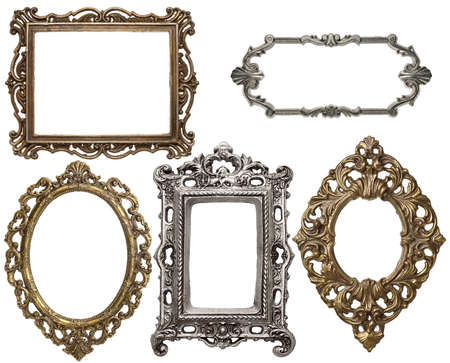 Vintage metal frames, isolated. photo