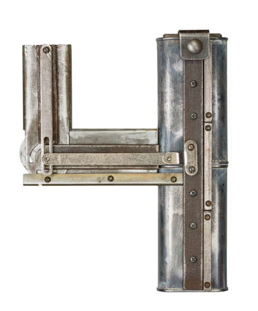 Industrial metal alphabet number 4 photo