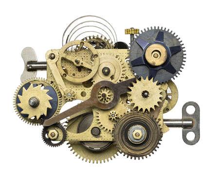 maquina de vapor: Collage de metal estilizada de un reloj.
