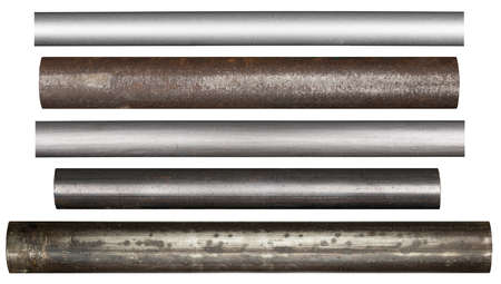 Metal pipes, isolated photo