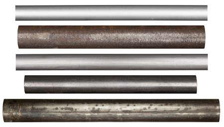 Metalen buizen, geïsoleerde Stockfoto