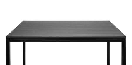 table: Black table. Wooden board, metal legs. Stock Photo