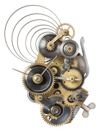 rivet metal: Stylized metal collage of clockwork.