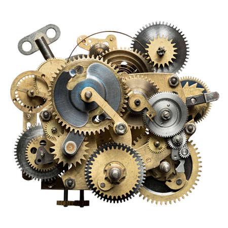 時計じかけの様式化された金属のコラージュ。