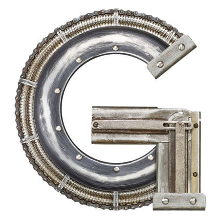 Industrial metal alphabet letter G photo