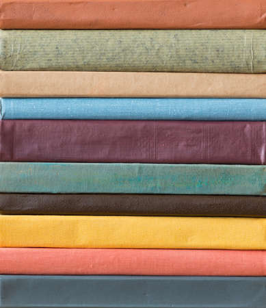 book spine: Stack of books. Stock Photo