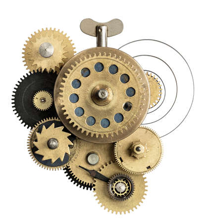 mechanism: Stylized metal collage of clockwork.