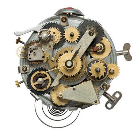 Stylized metal collage of clockwork.