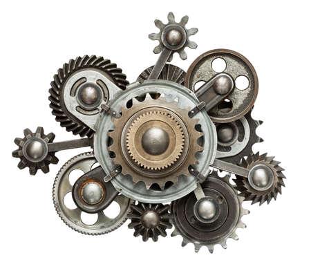 maquina de vapor: Collage mecánica estilizada. Hecho de engranajes de metal.