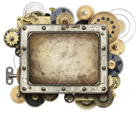 Stylized mechanical collage background photo