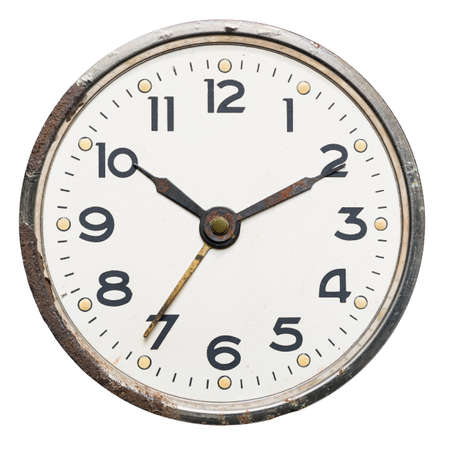 Old rusty vintage clock, isolated on white Zdjęcie Seryjne