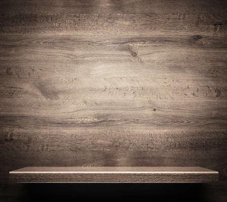 tabulka: Dřevěná police Reklamní fotografie