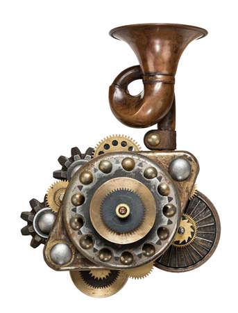 maquina vapor: Collage de metal estilizado de dispositivo mecánico.