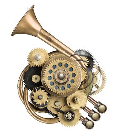 Stilizzata collage metallo di dispositivo meccanico. Archivio Fotografico - 31206948