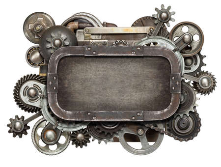 technology collage: Stylized mechanical collage. Made of metal gears and textures.