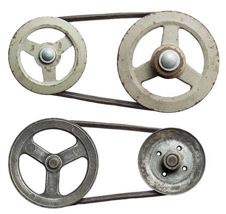 carrucole: Pulegge metalliche vecchi con cintura.