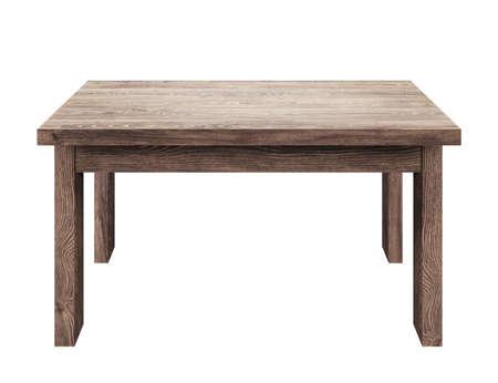 나무 테이블 흰색 배경에 고립