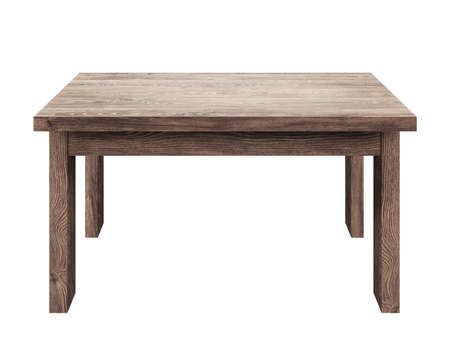 Table en bois isolé sur fond blanc Banque d'images