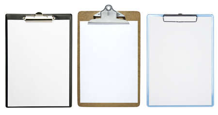 Clipboards with a blank sheet of paper isolated on white background Archivio Fotografico
