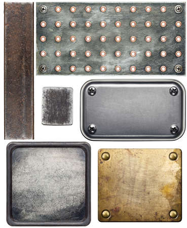 Various metal textures, isolated on white background photo